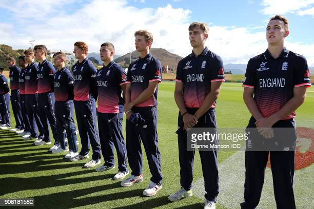 The English team look on during the national anthems ahead of the ICC U19 Cricket World Cup match between Bangladesh and England at John Davies on...