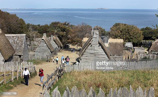 The English Village is viewed looking toward Cape Cod Bay Roleplayers and native peoples model life in 1627 on Plimoth Plantation on Monday Oct 24...