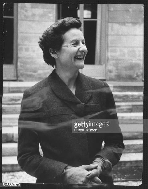 The English writer Nancy Mitford pictured outside her Paris apartment, 1956. Her novels include The Pursuit of Love , Love in a Cold Climate and The...