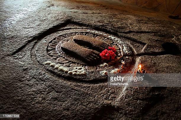 The engraved footprints of Srutakevali Bhadrabahu inside Bhadrabahu cave at Shravanabelagola Hassan Karnataka India