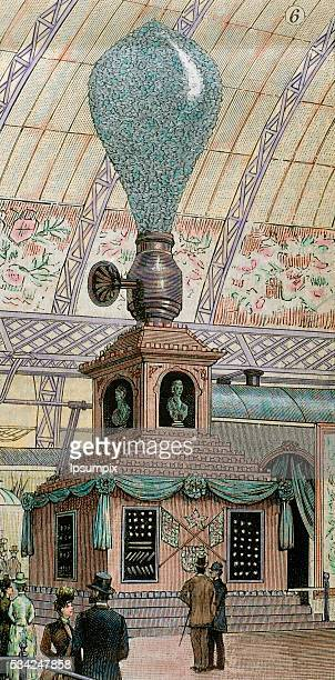 The engraving represents the giant electric lamp as one of the several inventions of Thomas Alva Edison Exposition Universelle of 1889 Paris...