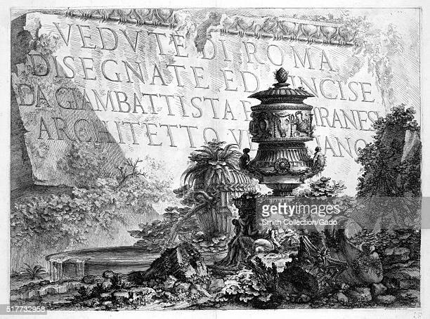 The engraving that created the title page for the book Verdute di Roma or Views of Rome the title page features the name of the collection of...