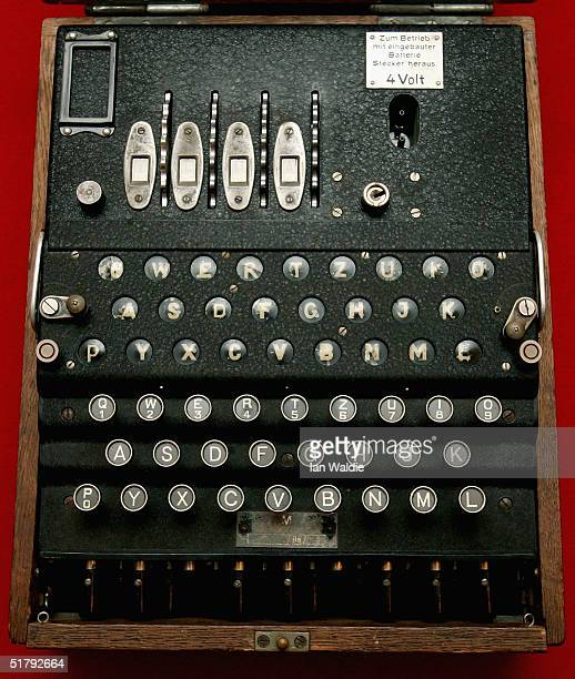 The Enigma coding machine used by the Germans in WWII on display at Bletchley Park National Code Centre November 25 2004 in Bletchley England