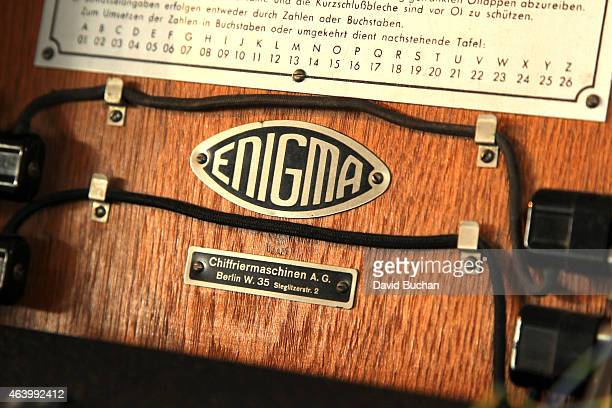 The Enigma machine is displayed at the GREAT British film reception honoring the British nominees of the 87th Annual Academy Awards at The London...
