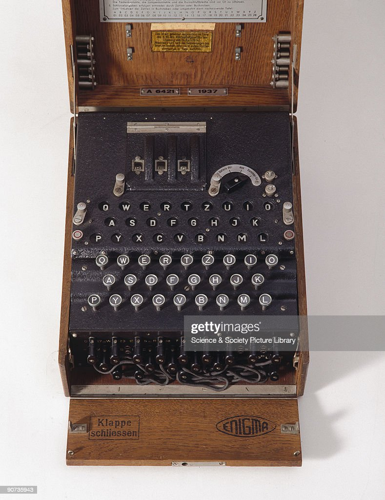 Three-ring Enigma cypher machine in wooden transit case, c 1930s. : News Photo