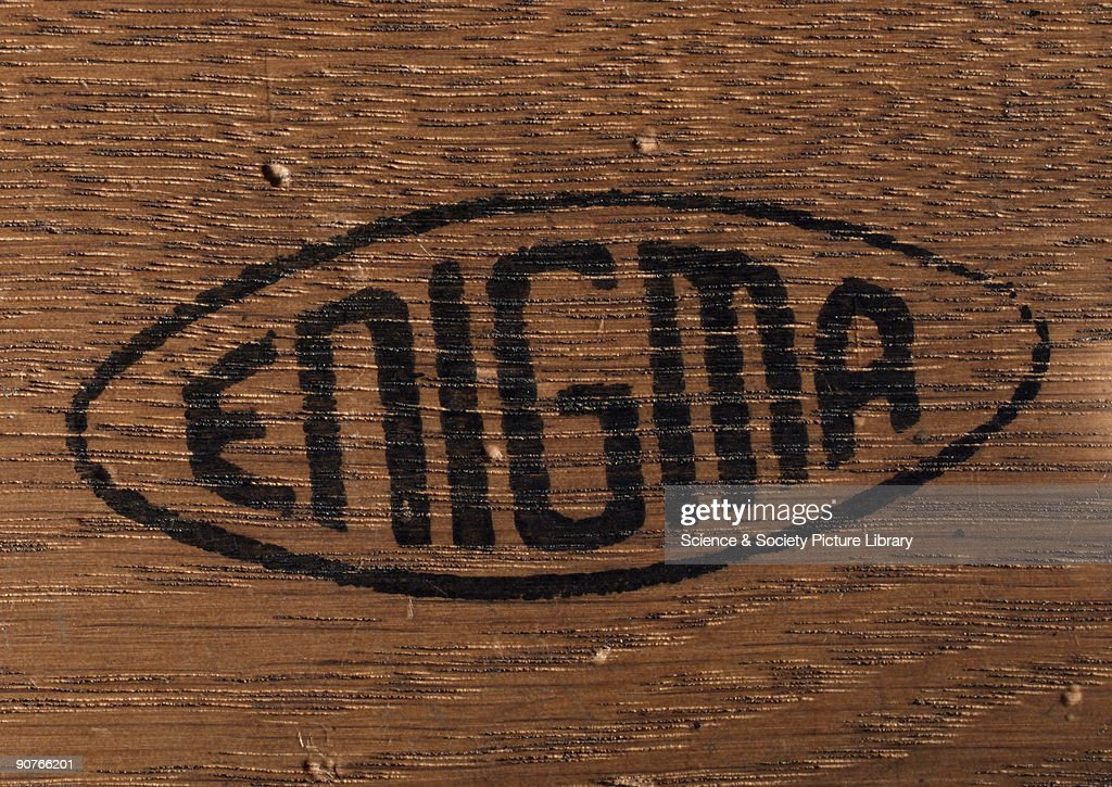 Detail of three-ring Enigma cypher machine in wooden case, c 1930s. : News Photo