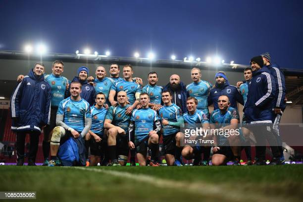 The Enisei-STM side pose for a team picture during the Challenge Cup match between Bristol Bears and Enisei-STM at Ashton Gate on January 19, 2019 in...