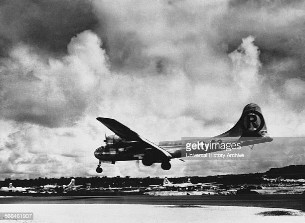 The Enola Gay, Boeing B-29 Superfortress bomber, named for Enola Gay Tibbets, the mother of the pilot, Colonel Paul Tibbets. On 6 August 1945, during...