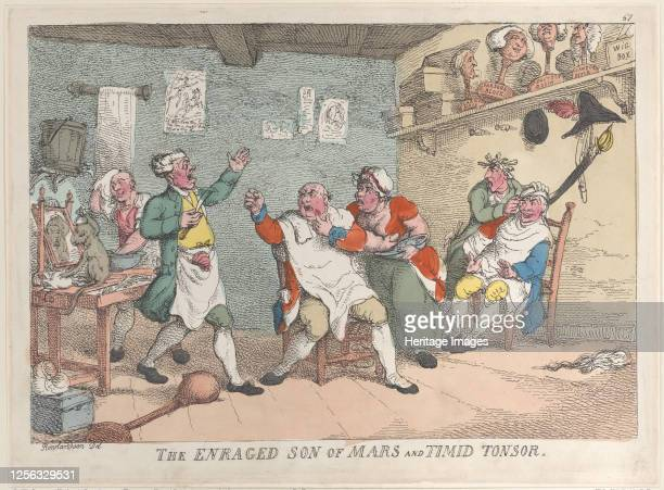 The Enraged Son of Mars and Timid Tonsor, April 20, 1811. Artist Thomas Rowlandson.