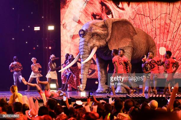 The ensemble Afrika Afrika perform at the 'Schlagerchampions Das grosse Fest der Besten' TV Show at Velodrom on January 13 2018 in Berlin Germany