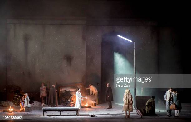 The ensemble of the Staats Oper unter den Linden during the photo and TV rehearsal for Violet Snow by Beat Furrer Production by Claus Guth Musical...