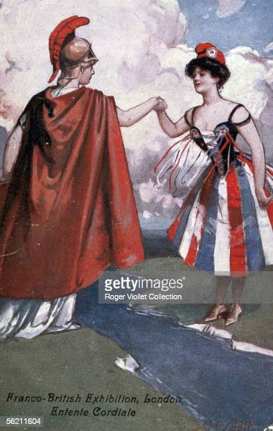 The Entente cordiale Marianne and Britannia English postcard published for the FrancoBritish Exhibition of London