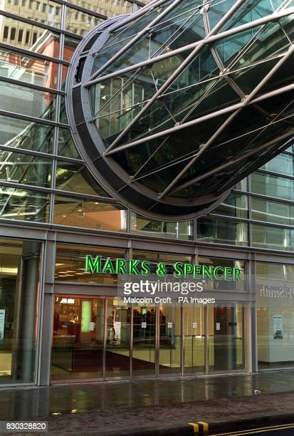 The enterance of the new Marks Spencer department store in the Arndale Centre Manchester rebuilt since the IRA bomb blast of 1996 destroyed a large...