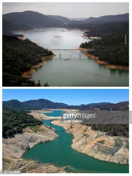 The Enterprise Bridge crosses over a section of Lake Oroville where water levels are low on April 27, 2021 in Oroville, California. Four years after...