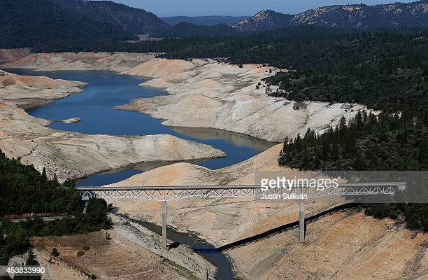 The Enterprise Bridge passes over a section of Lake Oroville that is nearly dry on August 19, 2014 in Oroville, California. As the severe drought in...