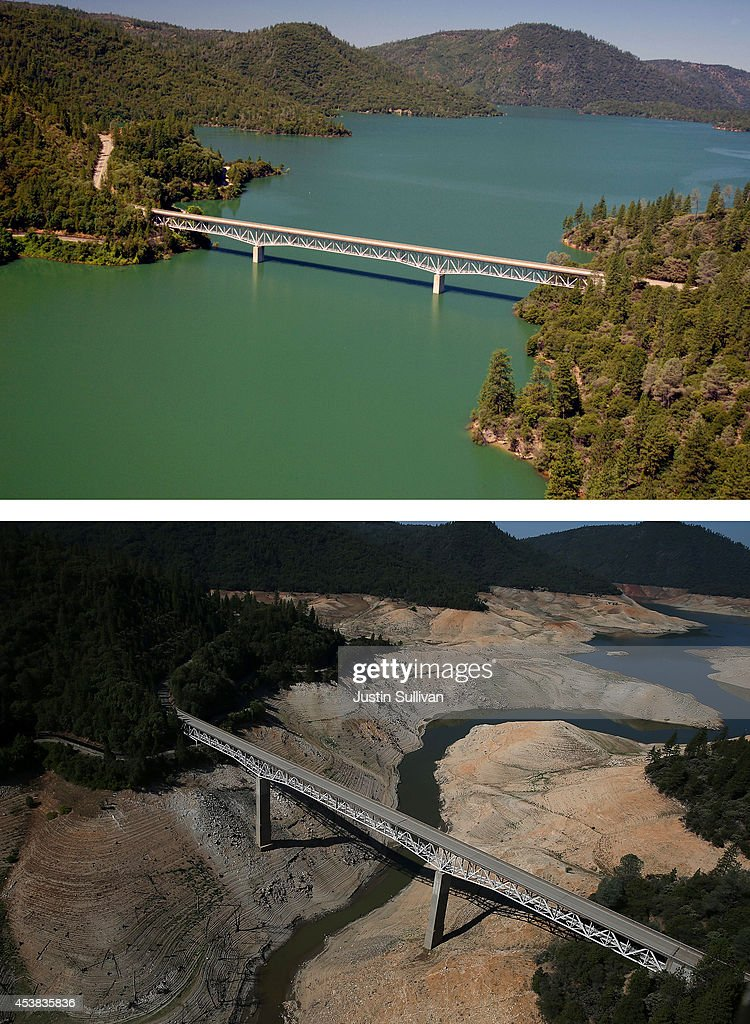 In this before-and-after composite image, (Top) The Enterprise Bridge passes over full water levels at a section of Lake Oroville on July 20, 2011 in Oroville, California. (Photo by Paul Hames/California Department of Water Resources via Getty Images) OROVILLE, CA - AUGUST 19: (Bottom) The Enterprise Bridge passes over a section of Lake Oroville that is nearly dry on August 19, 2014 in Oroville, California. As the severe drought in California continues for a third straight year, water levels in the State's lakes and reservoirs is reaching historic lows. Lake Oroville is currently at 32 percent of its total 3,537,577 acre feet.