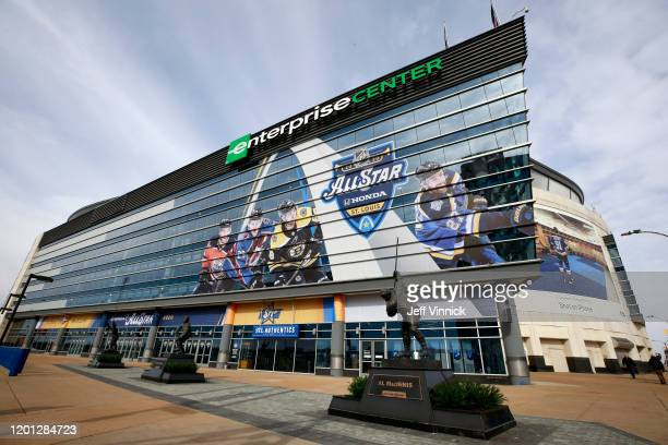 The Enterprise Center is seen with NHL All-Star signage prior to the start of the All-Star Weekend festivities on January 22, 2020 in St Louis,...