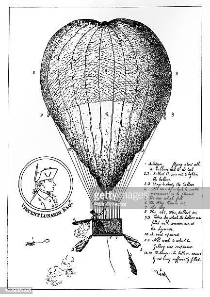 'The Enterprizing Lunardi's Grand Air Ballon which took it's flight from the Artillery Ground September 15th 1784 Amidst the acclamations of 300000...