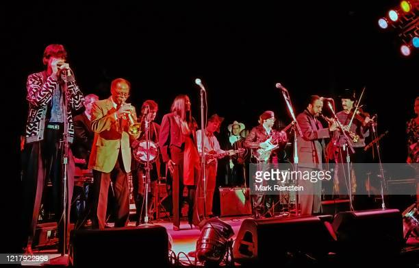 The entire ensemble on stage live during the 50th anniversary show from the studios of Voice of America LR Howard Levy on harmonica Clark Terry...
