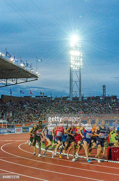The entire field of the men's 1500m sprint finals at the Olympic Stadium during Day Four of the 23rd European Athletics Championships on July 09 2016...