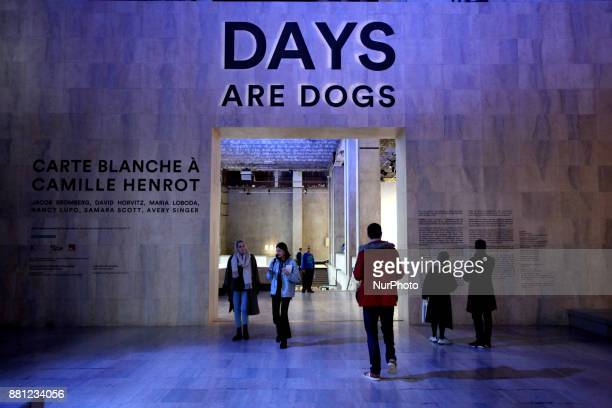 The entrance at the Palais De Tokyo with the title of the exhibition Days Are Dogs by artist Camille Henrot in Paris France on November 24 2017