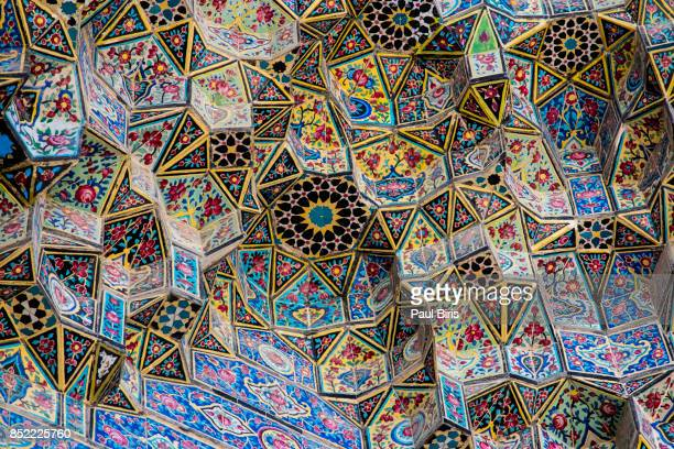 The entrance details, the Nasir-ol-Molk Mosque, also known as the Pink Mosque, Shiraz, Iran.