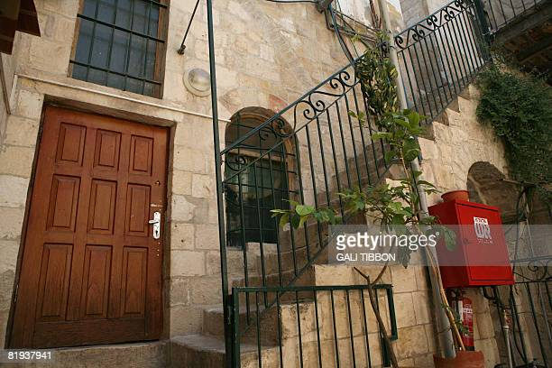 The entrance door of the apartment that belongs to former Israeli prime minister Ariel Sharon at the Wittenberg House in the Muslim Quarter of...