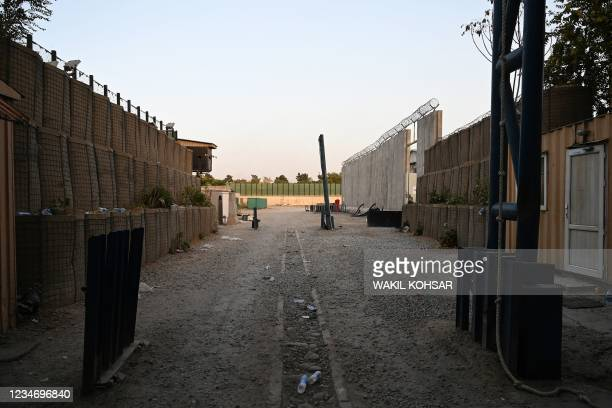 The entrance gate of the Canadian embassy is pictured after the evacuation in Kabul on August 15, 2021.