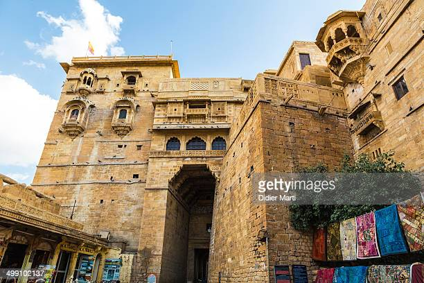 CONTENT] The entrance gate of the Jaisalmer palace inside the historic fort of Jaisalmer in Rajasthan India