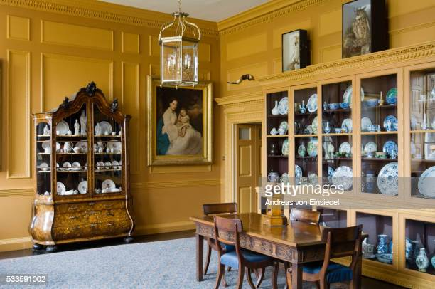 the entrance hall at wallington, northumberland - morpeth stock pictures, royalty-free photos & images