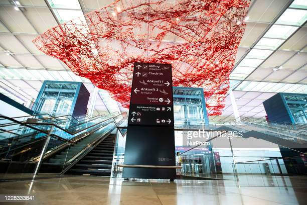 The entrance hall of Berlin Brandenburg Airport 'Willy Brandt' is pictured during a test run head of its opening, planned for October 31, in...