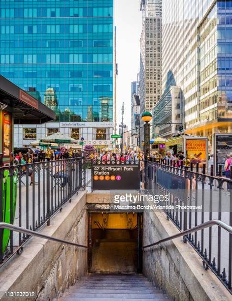 the entrance of 42nd street–bryant park subway station - underground sign stock pictures, royalty-free photos & images