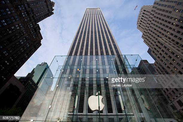 The entrance of Apple's new flagship store on Fifth Avenue and 59th Street in the GM Building during its grand opening Steve Jobs designed and paid...