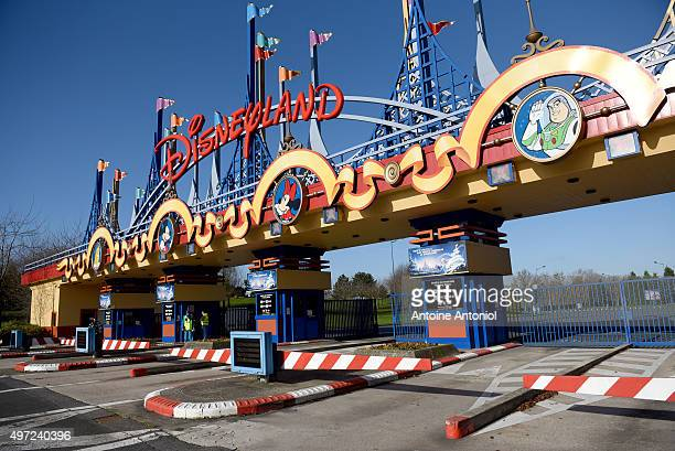 The entrance of Disneyland-Paris entertainment park is closed on November 15, 2015 in Paris, France. As France observes three days of national...