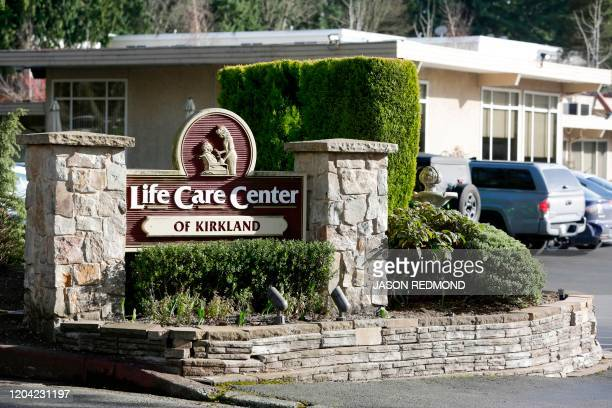 The entrance of Life Care Center of Kirkland where one associate and one resident were diagnosed with the novel coronavirus according to a statement...