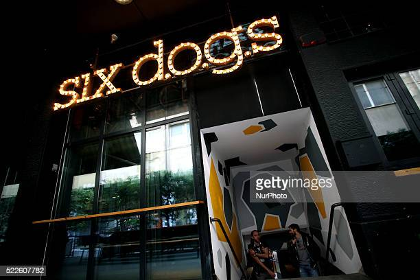 The entrance of Six Dogs a cultural entertainment center at the heart of Athens April 6 2016