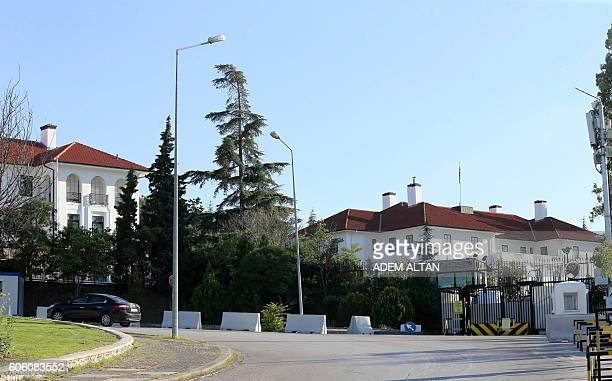 The entrance of the British Embassy in Ankara is pictured on September 16 2016 Turkish authorities detained four people as part of an investigation...
