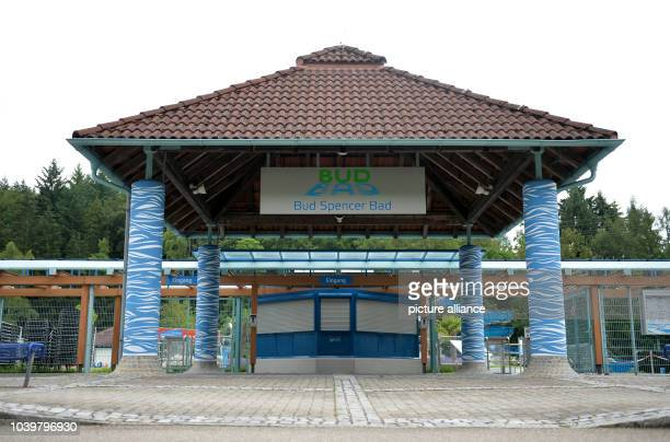 The entrance of the Bud Spencer public pool in Schwaebisch Gmuend Germany 28 June 2016 The visitors of the public pool named after Italian actor...