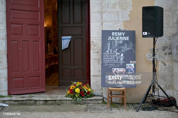 The entrance of the Church in the northern central France city of Cepoy is pictured on January 29, 2021 before the start of the funeral service for...