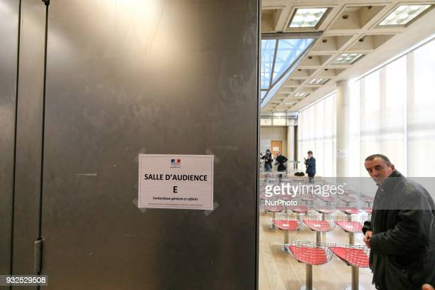 The entrance of the courtroom in Nanterre on March 15 where the two older children of iconic French musician Johnny Hallyday are scheduled to claim...