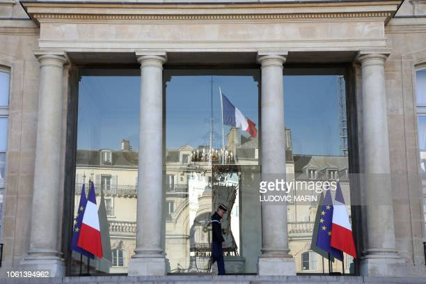 The entrance of the Elysee presidential Palace is pictured on November 14 in Paris.