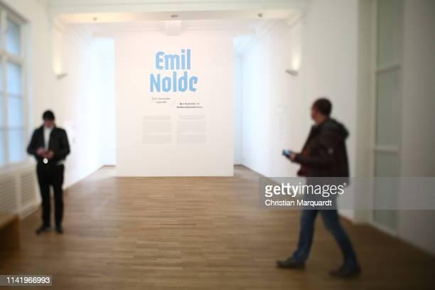 """The entrance of the exhibition during the preview of the exhibition """"Emil Nolde - Eine deutsche Legende. Der Kuenstler im Nationalsozialismus"""" at..."""