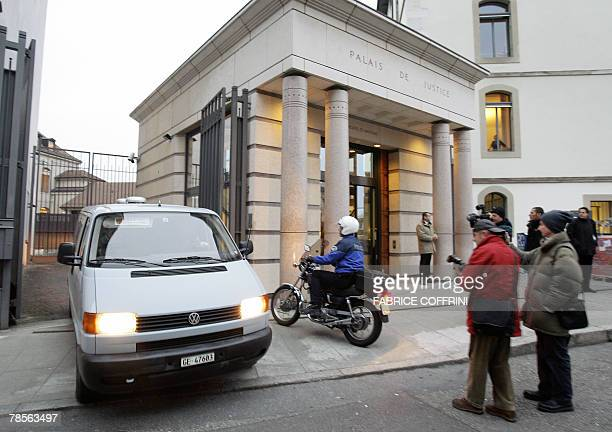 The entrance of the Geneva's Law Courts 19 December 2007 is seen during a public hearing of Cecile Brossard who confessed on 2005 the sexrelated...