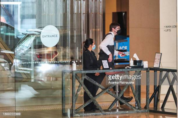 The entrance of the Grand Hyatt hotel where hand sanitizer and temperature checks are conducted upon arrival on February 04, 2021 in Melbourne,...
