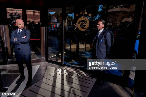 The entrance of the headquarters of the Italian Football Federation controlled by security for the meeting of the Federal Council where the Italian...