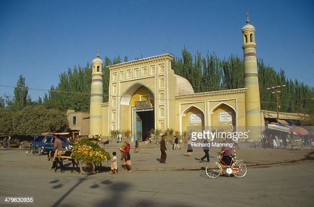 The entrance of the Id Kah Mosque in Kashgar Xinjiang The Id Kah Mosque in Kashgar was built in 1442 and is the most important Mosque in Xinjiang...