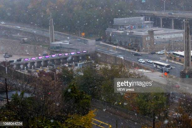 The entrance of the Lincoln tunnel is seen from Union City during the first snowfall of the season on November 15 in New Jersey The first flakes in...