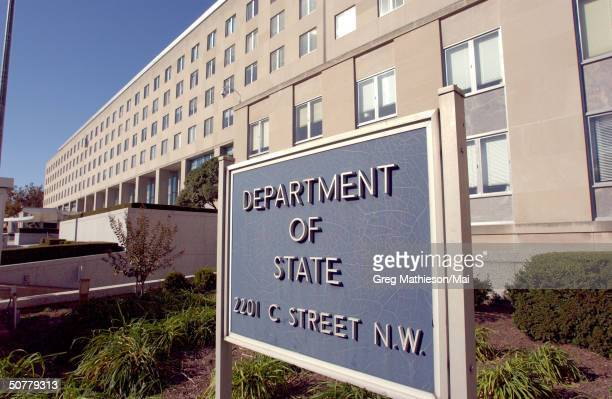 The entrance of the main offices of the United States Department of State located on C St in Washington DC which was recently named the Harry S...