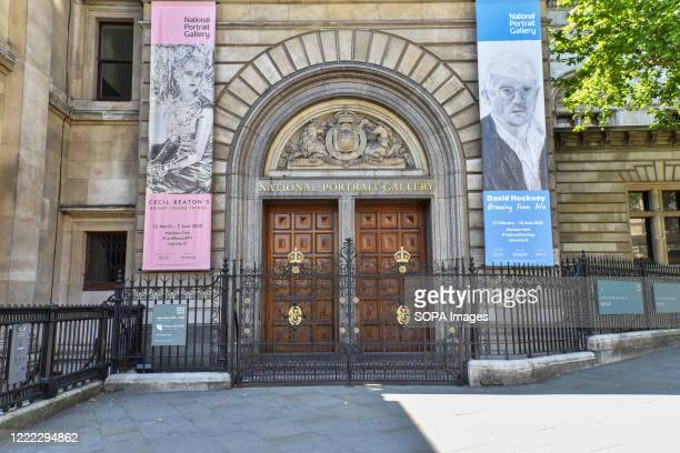 The entrance of the National Portrait Gallery seen on the day British Prime Minister Boris Johnson announced museums & galleries can reopen in...
