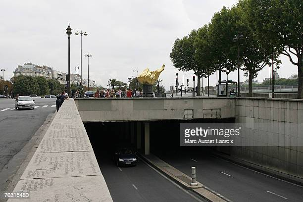 The entrance of the Pont de l'Alma road tunnel on August 22 in Paris where Diana Princess of Wales died after a highspeed car accident in Paris France